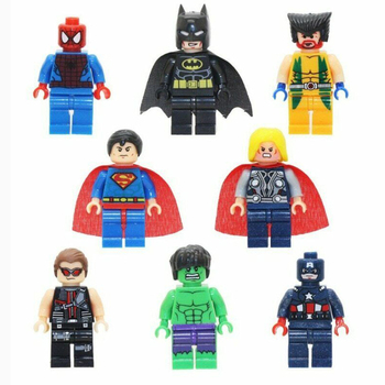 8Pcs/set Superhero Building Blocks Spiderman Hulk Captain America Thor Action Figure Bricks Small Model Toys for Children Gift цена 2017