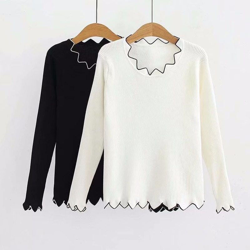 Wavy Edge Striped Knitted Sweater Women Loose Elastic Large Size Long Sleeve Bottoming Sweater Pullover Female Spring Autumn