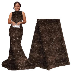 Lace Embroidery Coffee Brown Best-Selling-Products Nigeria African High-Quality