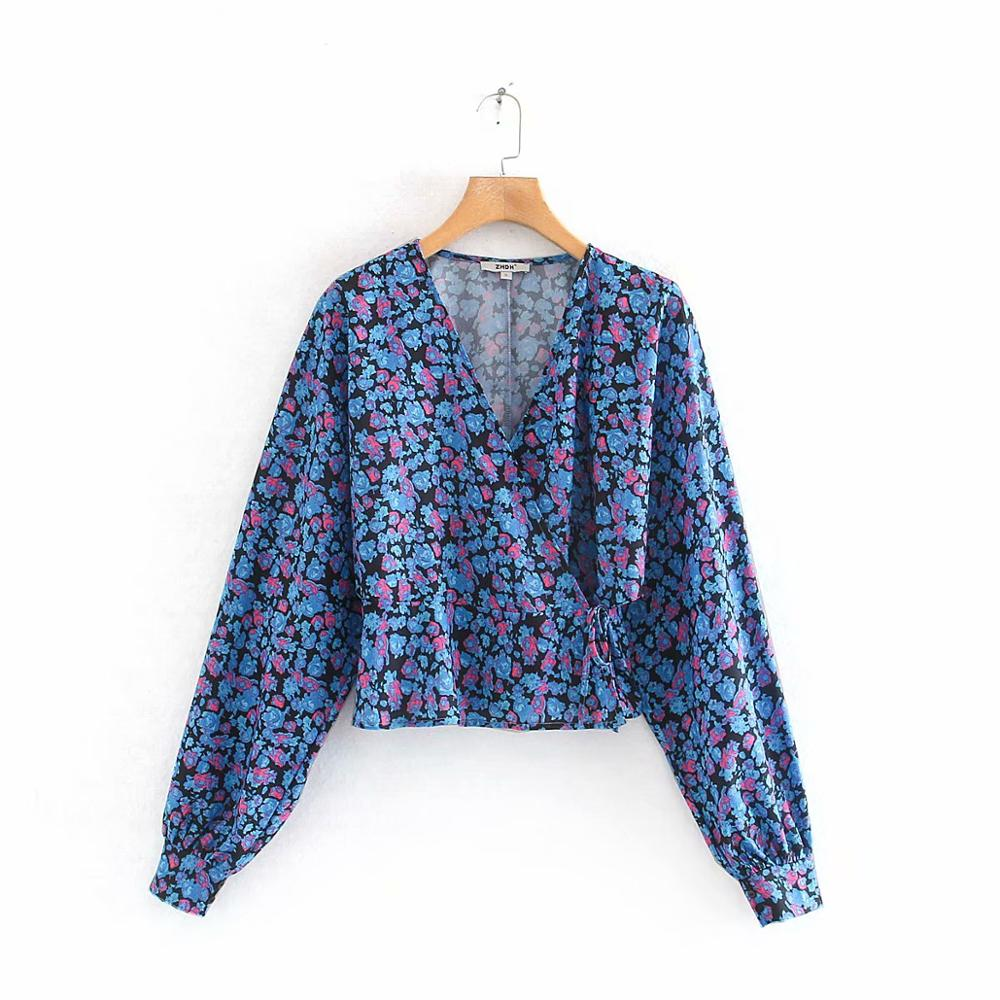 New Fashion Women Cross V Neck Floral Print Casual Kimono Blouse Shirts Women Long Sleeve Chic Lace Up Chemise Blusa Tops LS6264
