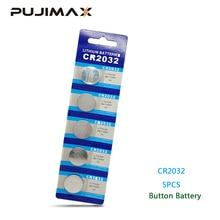 PUJIMAX 5 unds/pack CR2032 reloj botón batería DL2032 BR2032 KL2032 3V Litio reloj láser bolígrafo de luz LED ordenador moneda batería