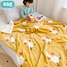 AAG Cute Cartoon Double Layer Baby Blanket Lamb Cashmere Newborns Blankets Printing Thick Flannel Child Blanket Baby Bedding Set