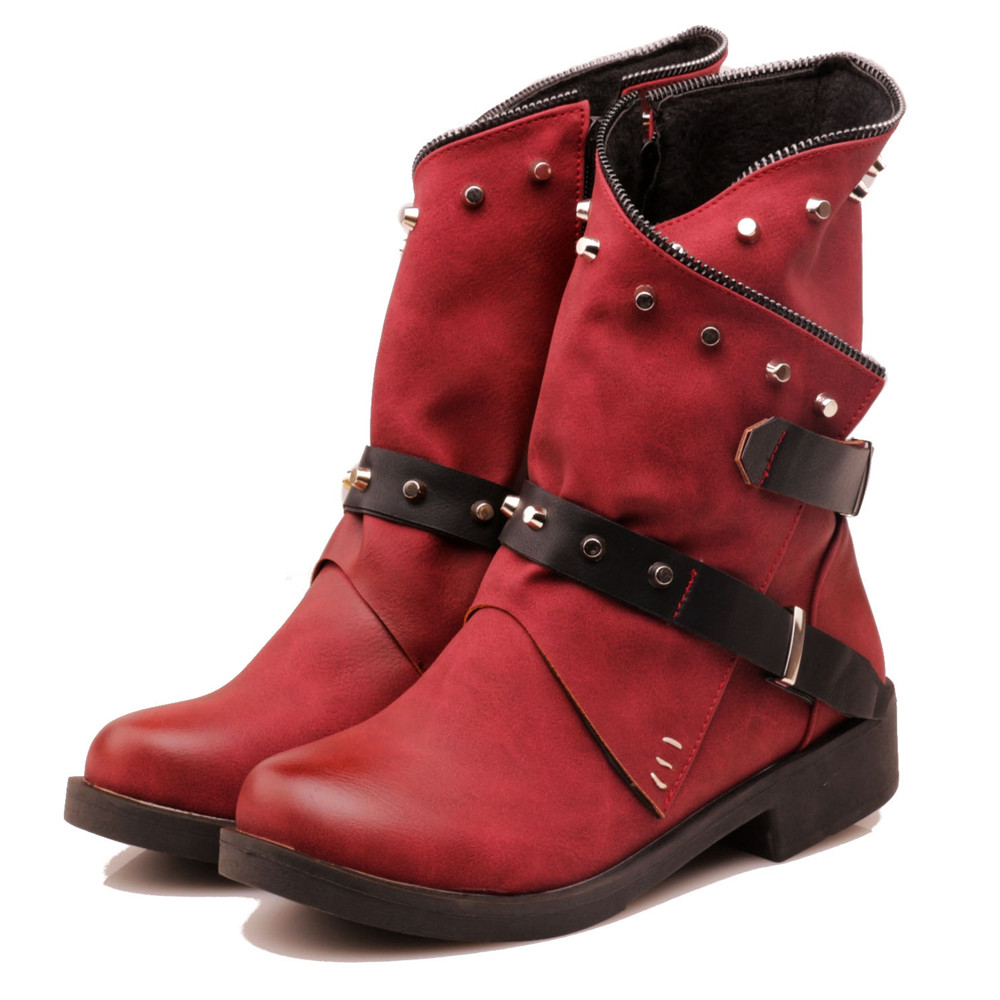Women Shoes Boots Red Black Big Size 34-43 Plus Ankle