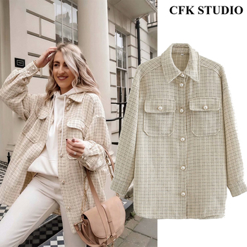 Women Autumn Tweed Jacket Femme 2020 New Winter Femme Coat with Turn-down Collar with Pocket Long Sleeve Oversize Outwear Coat