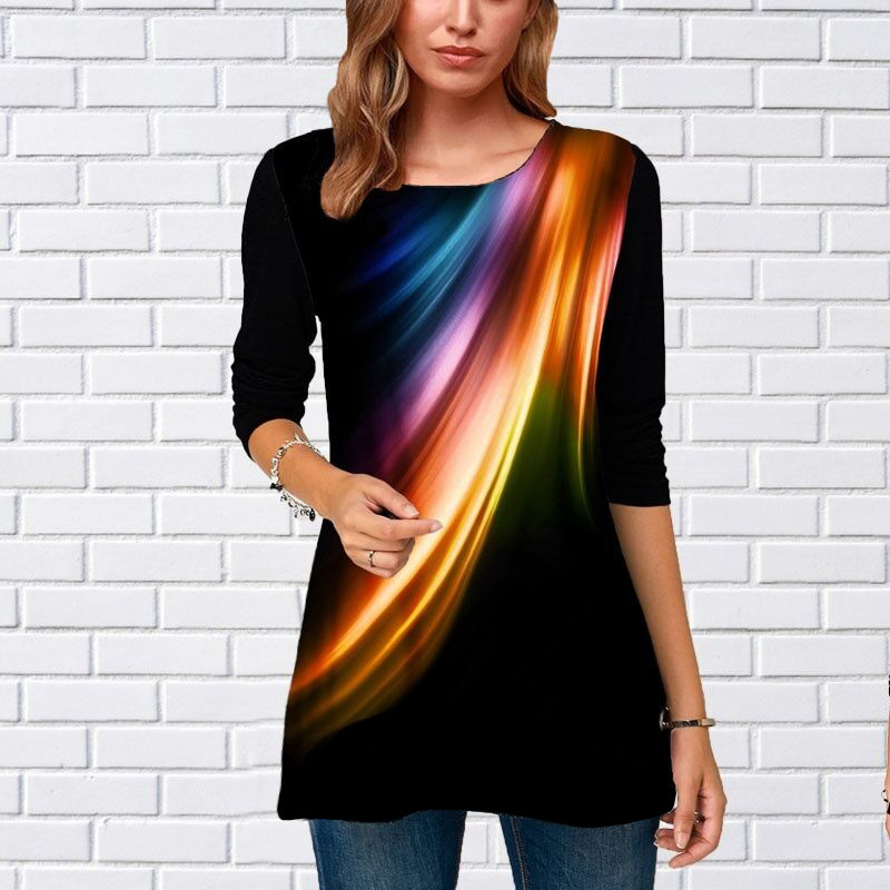 Plus Size S-5XL Women Tops Tee Spring Autumn Female Gradient  Print T Shirt Casual O-Neck Sexy T Shirt Large Size Top Pullover