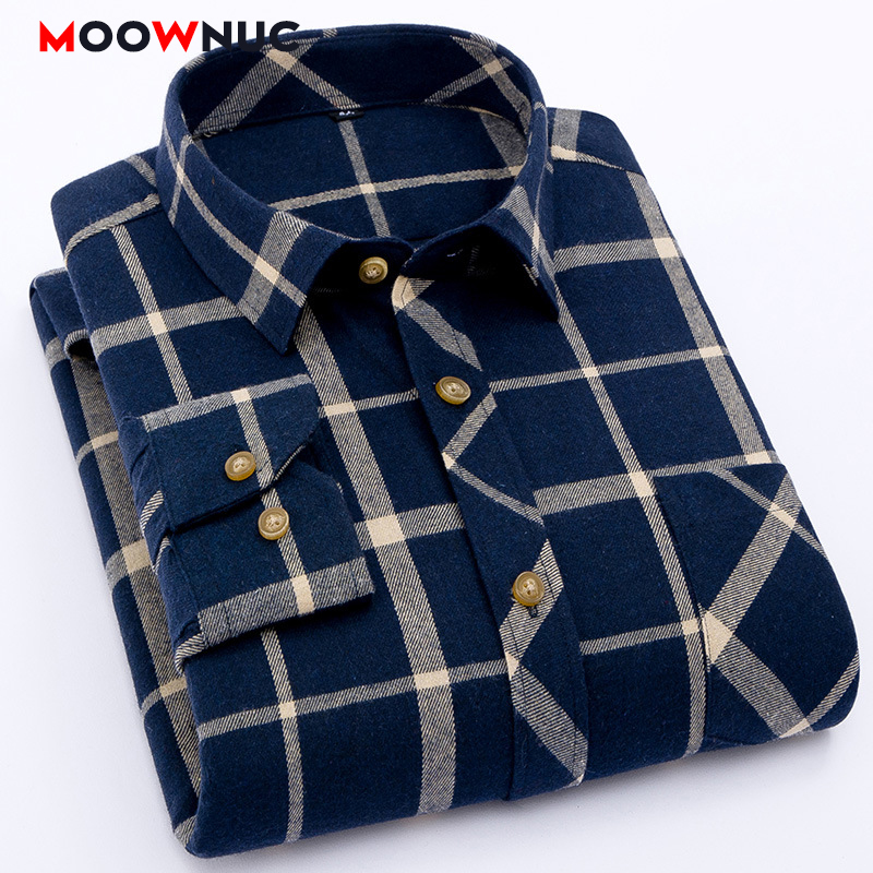 Shirts Mens Fashion 2020 Cotton Spring New S-4XL Plaid Sanding Fit Long Sleeve Casual Male MOOWNUC Hombre Street Dress  Shirts