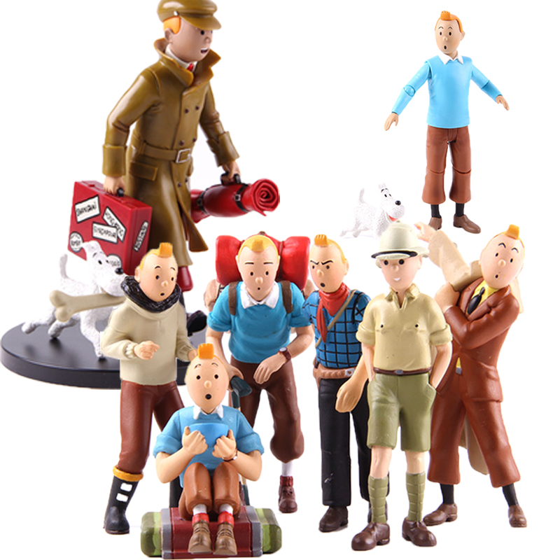 The Adventures Of Tintin Tin Tin Figure And Milou Statue Action Figures PVC Collectible Model Toy