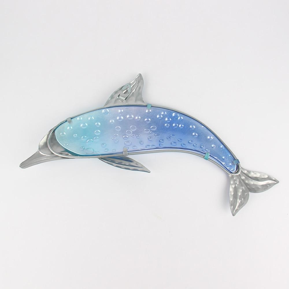 Металл синий дельфин стена произведения искусства для сада украшения миниатюра украшения открытый статуи и аксессуары скульптуры