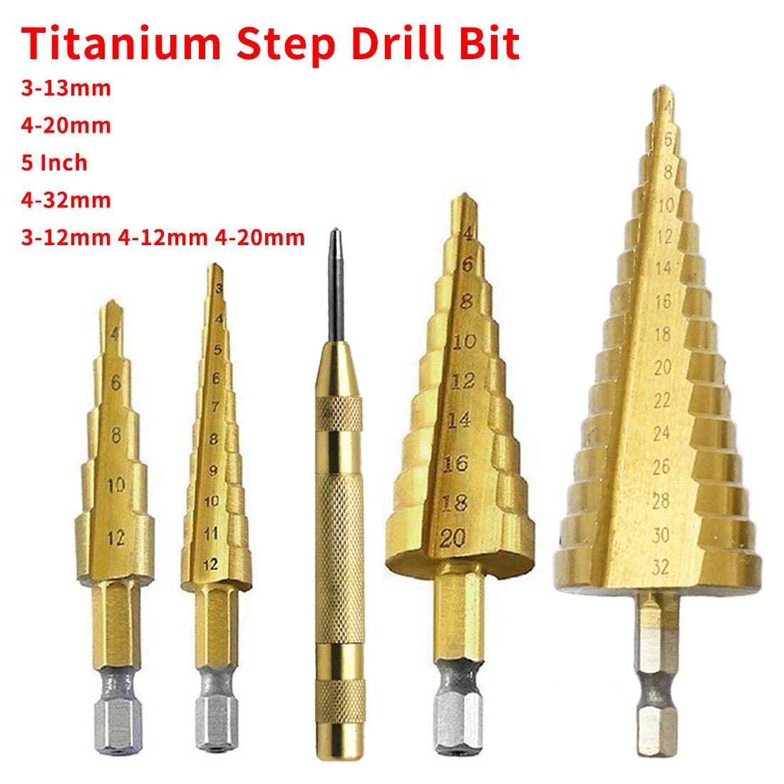 Metal Drill Bit Set 3pcs HSS Steel Titanium Step Drill Bit 3-12mm 4-12mm 4-20mm Step Cone Cutt Tools For Woodworking Wood