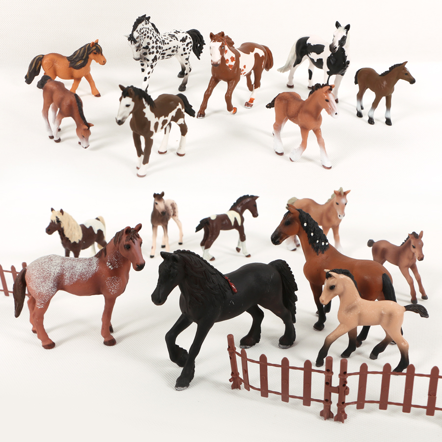 22Type Horse Models Farm Animal model series Appaloosa Harvard Hannover Clydesdale Quarter Arabian Horse collection for Kids toy image