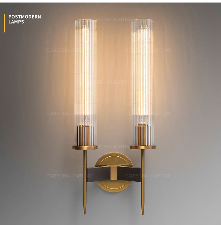 H3d2b8c36669b4ac5bb47e67694451f8ft - Antique brass wall lamp glass cylinder shade home indoor decorative wall lights in bedroom bedside wall mounted sconce interior