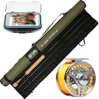 Fly Fishing Rod and Reel Combo 9' 8WT 4 Sec Graphite IM10 Fly Rod & CNC machined 7/8 Reel Tapered WF8F Fly Line Set Multi color