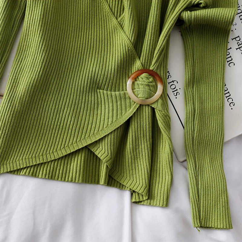 봄 가을 두꺼운 스웨터 여성 의류 2020 당겨 Femme 풀오버 섹시한 니트 셔츠 긴 소매 숙녀 탑스 Ropa Mujer ZT5265