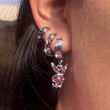 Boucles d'oreilles en forme de lapin pour hommes et femmes, bijoux à strass, en acier inoxydable, à la mode, nouvelle collection
