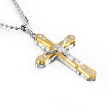 2019 cross-border electricity hot style Christianity Jesus cross crystal pendant necklace stainless steel mens jewelry
