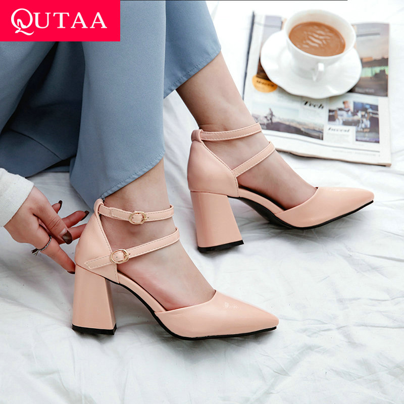 QUTAA 2020 Women Shoes Platform All Match Pointed Toe Shallow Two-piece Summer Shoes Elegant Buckle Ladies Pumps Size 34-43