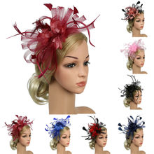 Newest Colorful Women Sinamay Fascinator Cocktail Party Hat Wedding Church Kentucky Dress Elegant Feather Bridal Hair Accessory on AliExpress