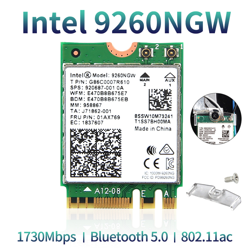 Dual Band Wireless Intel 9260 WiFi Card 9260NGW NGFF M.2 1.73Gbps 802.11ac Bluetooth 5.0 Wlan Network Adapter