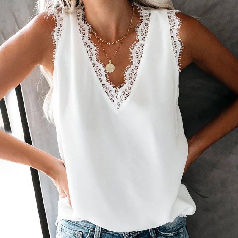Summer Women Casual Loose Tshirt Fashion Lace Decoration T-shirt Solid Color Ladies V-neck Sleeveless Tee Top