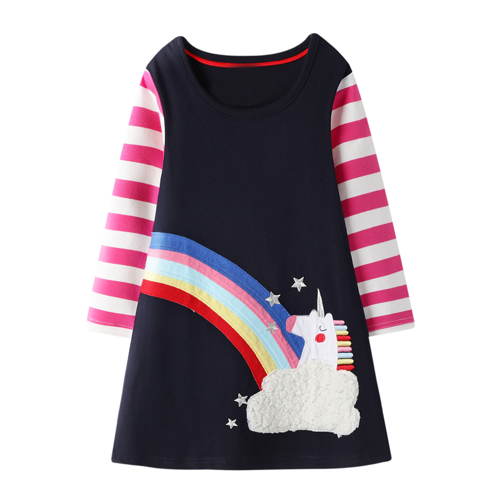 <font><b>Girls</b></font> <font><b>Dress</b></font> 100% Cotton Baby <font><b>Girl</b></font> Clothes Vestidos Casual Unicorn Flowers Print <font><b>Princess</b></font> <font><b>Dress</b></font> <font><b>Girl</b></font> Party <font><b>Dress</b></font> with Sequins image
