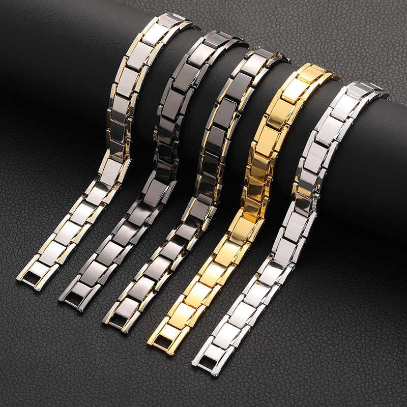 TANGYIN בריאות אנרגיה צמיד צמיד לגברים נירוסטה ביו מגנטי זכר מתנה שחור זהב כסף צבע מתכוונן צמיד