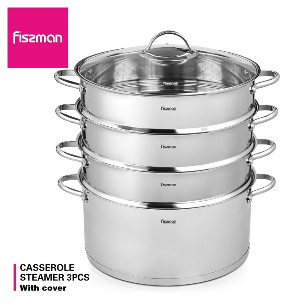 FISSMAN BARAKAT Series 304 Stainless Steel Mantou Stock Pot with 3 Steamer Inserts and Glass LidSoup & Stock Pots   -