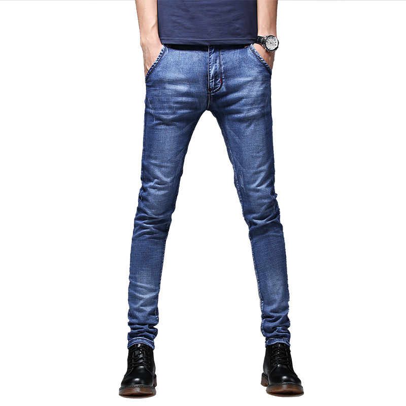 Teen Mens Jeans Blue Small Size 27-36 Jeans Men Soft Denim Trousers Casual Trend Spring And Autumn Denim Pants