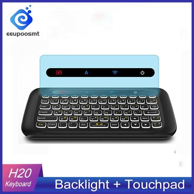 H20 Mini Không Dây Bàn Phím Có Đèn Nền Bàn Di Chuột Chuột Hồng Ngoại Nghiêng Điều Khiển Từ Xa Cho Android BOX Smart TIVI Windows PK H18 plus