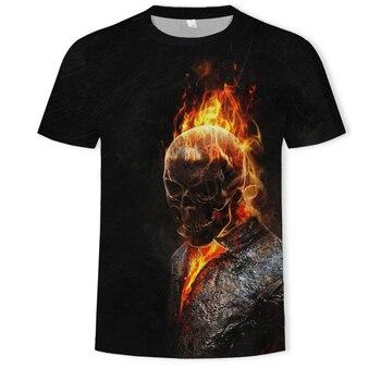 Gran oferta 2019, Camiseta con estampado 3D de calavera para hombre, camiseta de moda de verano de manga corta, camiseta de hombre Ghost Rider, Tops y camisetas streetwear