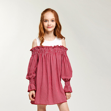 CupofSweet Off Shoulder Girls Dress Casual Kids Clothing Summer Fashion Long Sleeves Plaid Contrast Cutout Dresses Girl Shirts