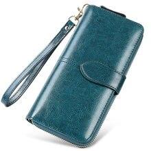 Carteira feminina de couro genuíno carteiras longas retro cera óleo couro alça mão embreagem senhora telefone moeda bolsa carteira titular do cartão