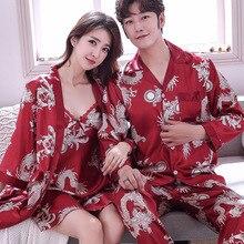 Two Piece Set Couple Pajamas Women Satin Sleepwear Pyjamas Sexy Sleep L
