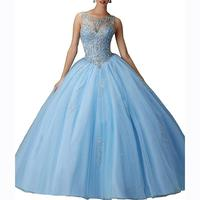Sweet Long Ball Gown Puffy Tulle Beads Quinceanera Dresses Vestidos De 15 O Neck Sleeveless Prom Party Gown Dreses