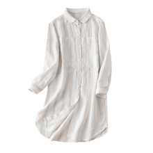 Striped Long Shirts Women 2020 Summer Linen Turn-down Collar Pockets Lovely Wome