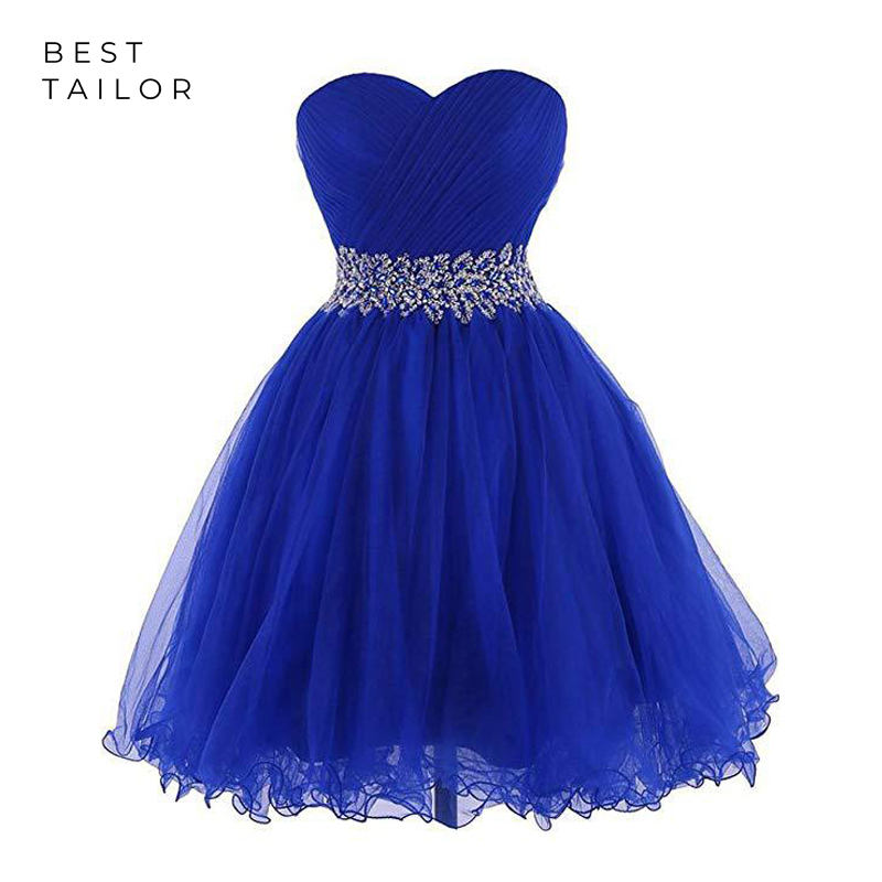 Prom Dresses 2019 Short Prom Party Gowns Tulle Sweetheart Beadings Waist Pleats Royal Blue Ball Gown Vestido De Fiesta Largos