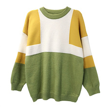 Fashion Women Casual Pullover Sweaters Yellow White Blue Colour Block Patchwork Knitted Tops Female Geometric Pattern Sweater
