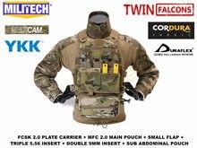 Militech fcsk 2.0 slickster tactical plate carrier loadout conjunto lidar com mfc 2.0 mil especificação principal bolsa e menor bolsa de acessórios
