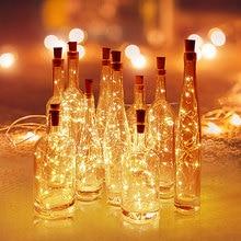 Аккумуляторные гирлянды светильники в форме винных бутылок с пробкой 2 м 20 светодиодный медный провод красочные сказочные огни гирлянды для вечерние украшения свадьбы
