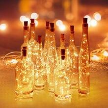 A bateria pôs luzes da garrafa de vinho da guirlanda com cortiça 2m 20 led fio de cobre colorido luzes de fadas corda para a decoração do casamento da festa