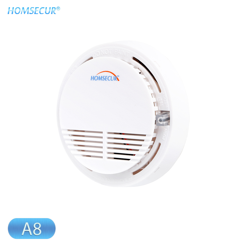 HOMSECUR A8 433MHz Wireless Smoke/Fire Alarm Detector Sensor With Test Button Ceiling/Wall Mount Support For Home Alarm System