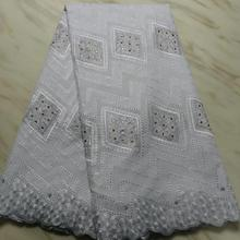 2019 new Super quality latest Popular Dry cotton lace African swiss Fabric For Nigerian grand Party Dresses Win568u White