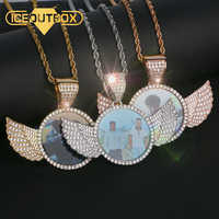 Luxury Custom Made Photo With Crystal Angel Wings Pendants Necklaces 3 Colors Gold Cubic Zircon Men's Hip Hop Jewelry With Box