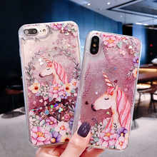 Einhorn Quicksand Glitter Telefon Fall Für Xiaomi Redmi Hinweis 4 4A 4X 5 5A 6 6A A2 7 7A 8 k20 9T Lite Pro Plus PC Schutzhülle