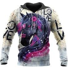 цена на New Fashion Mens Hoodies Animal Horse 3D All Over Printed Pullover Harajuku Casual Unisex Streetwear