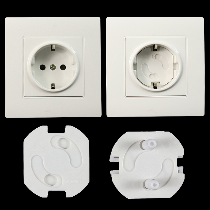 10 Pieces Of Baby Safety Revolving Cover 2 Hole Round European Standard Child Anti-electric Protection Socket Plastic Safety Loc