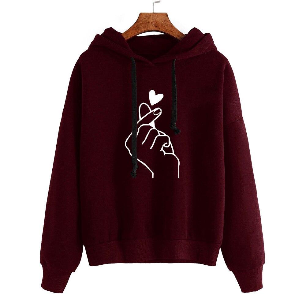 Kawaii Sweatshirt Women's Top Sweatshirt And Hoody Ladies Oversize K Pop Pink Love Heart Finger Hood Casual Hoodies S-5XL PL02