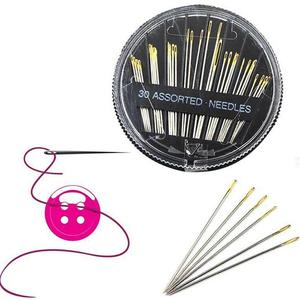 1Set Gold Tail Hand Sewing Black Sewing Box Disc Gold Tail Needle Hand Sewing Needle Embroidery Repair Craft Quilt Sewing Box