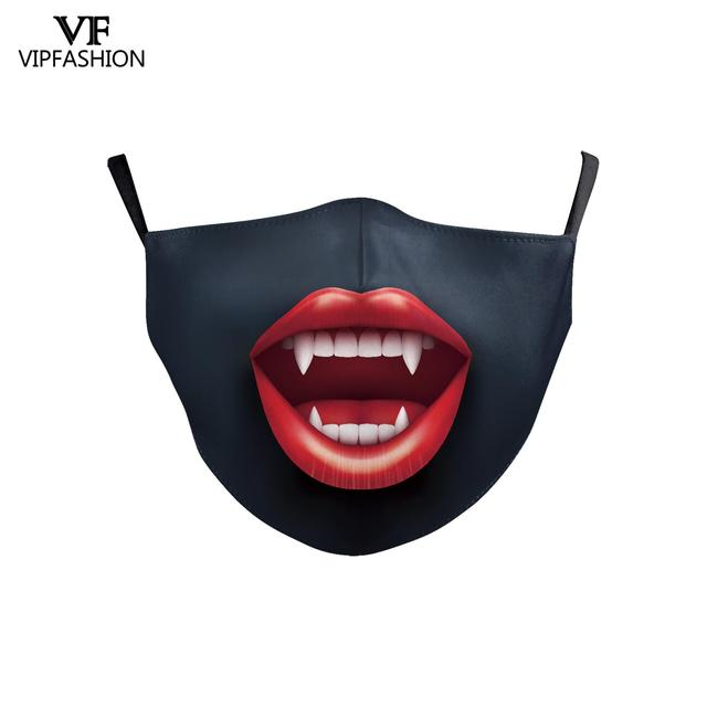 VIP FASHION Cute Kid's Mask Cartoon Clown Animal Face Fabric Masks Funny Grimace print Mouth-muffle Reusable Washable Masks 4