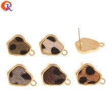 Design cordial 100 pçs 13*17mm acessórios de jóias/feito à mão/forma irregular/efeito de impressão de leopardo/diy fazendo/brincos parafuso prisioneiro