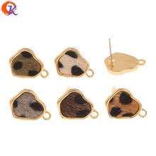 Diseño Cordial 100 Uds 13*17MM accesorios de joyería/hecho a mano/forma Irregular/efecto de impresión de leopardo/fabricación DIY/pendientes Stud